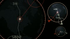 GPS,earth map,city map,military Radar GPS screen display,navigation interface. - stock footage