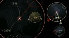 Stock Video Footage of GPS,earth map,city map,military Radar GPS screen display,navigation interface.