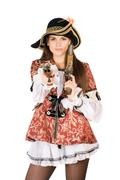 nice woman with guns dressed as pirates - stock photo