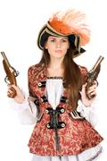 Gorgeous young woman with guns - stock photo