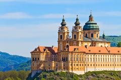 melk - famous baroque abbey (stift melk), austria - stock photo
