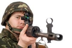 Armed soldier keeping svd Stock Photos