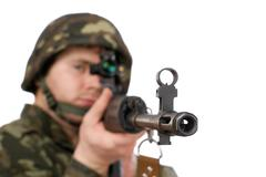Armed soldier holding svd Stock Photos