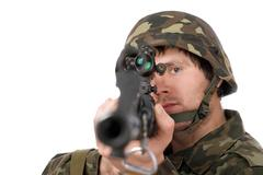 Soldier with svd. Closeup Stock Photos