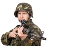 Armed man holding svd Stock Photos