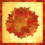 Autumn leaves circle background Stock Illustration