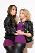 Pleasing two young women Stock Photos