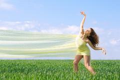 Expressive flexible young woman Stock Photos