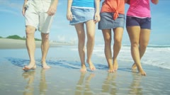 Lower Body Barefoot Family Walking Beach Stock Footage