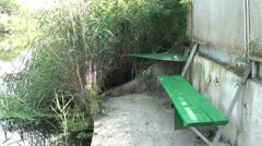 bench by the river - stock footage