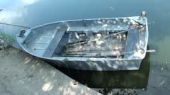 Empty boat and fish-tackle in it Stock Footage