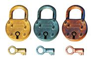 Antique padlock group Stock Illustration