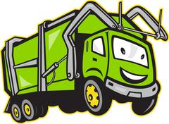 Garbage rubbish truck cartoon. Stock Illustration