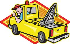 Tow wrecker truck driver thumbs up. Stock Illustration