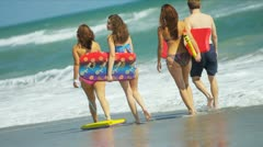 Caucasian Family Surfing Beach Lifestyle Stock Footage