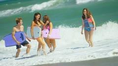 Caucasian Parents Teenage Girls Water Lifestyle Stock Footage