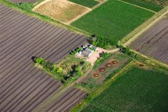 aerial view of a landhouse with green fields - stock illustration