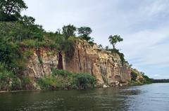 waterside victoria nile scenery in uganda - stock photo