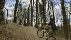 Bike Jump in Slow Motion in the park Stock Footage
