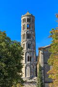uzes, fenestrelle tower, cathedral of st. theodore, languedoc roussillon, fra - stock photo