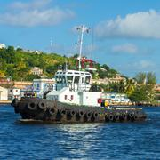 tugboat sailing in the bay of havana - stock photo