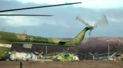 Military Mi-8 of Hip, the most mass helicopter working at two engines Stock Footage
