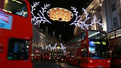 Buses in London, Christmas time Stock Footage