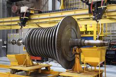 Industrial gas turbine at the workshop Stock Photos