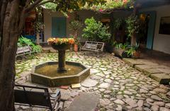 Fountain in Colonial Courtyard Stock Photos