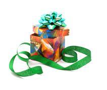 fancy box and ribbon. - stock photo