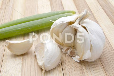 Stock photo of fresh garlic and green onion