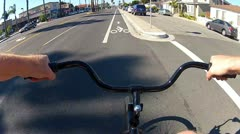 POV Riding Bicycle In Bike Lane- Naples Island CA Stock Footage