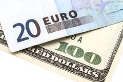Stock Photo of 100 usd and 20 euro