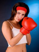Beauty girl with red boxing gloves. - stock photo