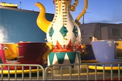Tea Cup / Coffee Cup Carnival Ride Stock Footage