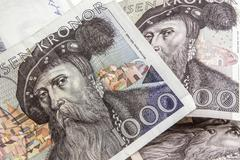 swedish currency -1000 kronor - stock photo
