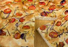 a slice of foccacia - stock photo