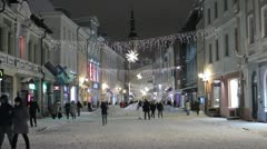 Viru street in Tallinn, Estonia Stock Footage
