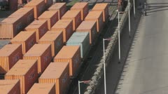 Containers in the harbor. Stock Footage