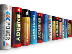 Row of different AA batteries - stock illustration