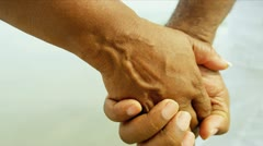 Close Up Hands African American Seniors Outdoors Stock Footage