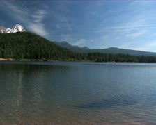 Calm day at lake Siskiyou - Calm Lake with snow mountain Stock Footage