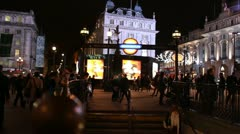 London Underground entrance, Christmas lights in background Stock Footage