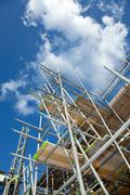 scaffolding on a building site - stock photo