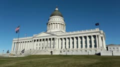 Utah State Capital Building across lawn HD 4655 Stock Footage