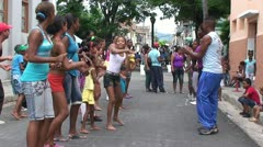 Santiago de Cuba, Dancing on the street Stock Footage