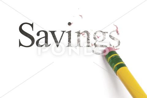 Stock photo of erasing savings