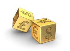 Stock Illustration of gold currency dice