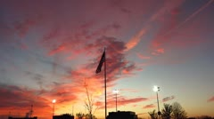 USA Flag Waving in Colorful Sunset Stock Video Stock Footage