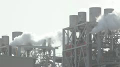 Factory chimneys in harbor zone. Stock Footage